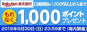 eca8a6239309 楽天銀行口座開設と合計1,000円以上の入金でもれなく1,000ポイントプレゼント ...